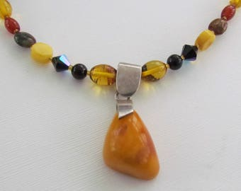 Butterscotch Amber Cherry Amber Carnelian Swarovski Crystal Necklace