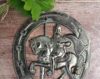 Vintage USSR, Horseshoe with a Horseman from 1980