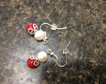 Handmade Red drop earrings