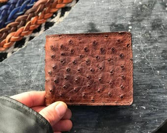 Genuine ostrich bi fold herman oak leather tooled wallet