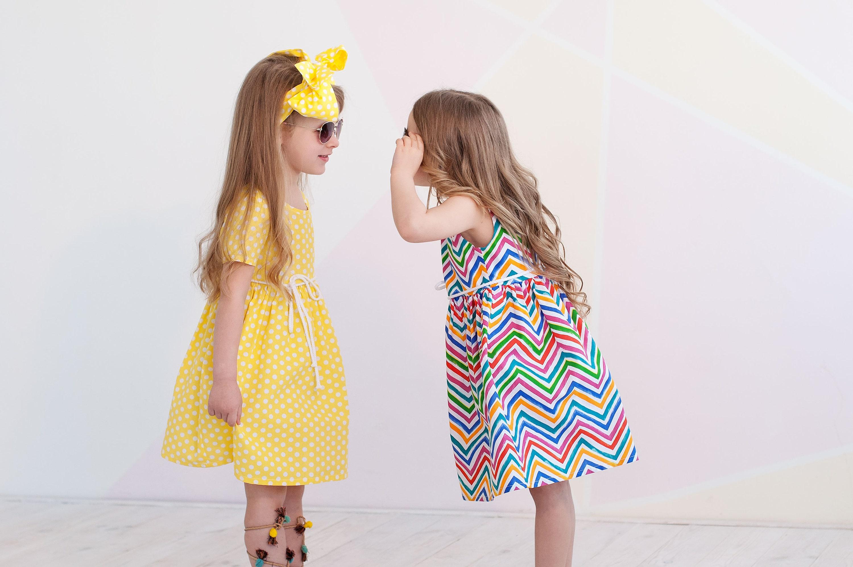 Pink striped baby sun dress Baby girl summer striped dress Cotton