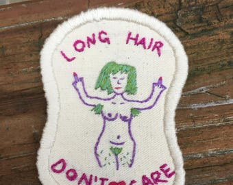 Long Hair Don't Care Iron On Patch