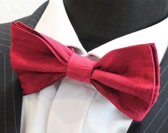 SILK Bow Tie. UK Made. Burgundy Dupion SILK Premium Quality. Pre-Tied.