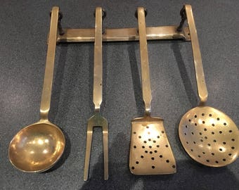 Vintage  French Brass Utensil Set With Wall Rack Found In France Signed