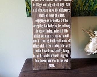 Serenity Prayer Hand Painted Wood Sign