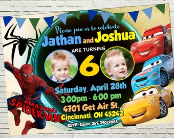 Cars 3 and Spiderman Sibling Birthday Invitations, Twins Invite, Dual Party, Double Invitations, Combined Birthday, Thank you card free