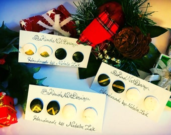 Black, White and Gold Polymer Clay Stud Earrings, Set of Two