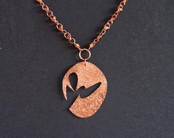 Hand made copper pendant & chain
