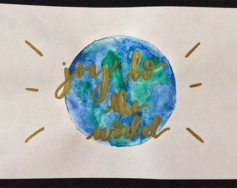 joy to the world - watercolor print
