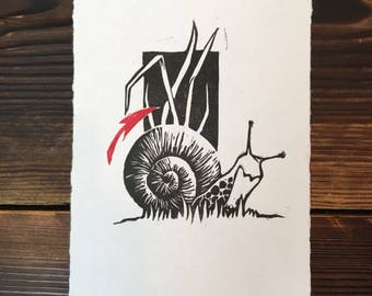 Snail//gifts for her//gifts for him//Kunstdruck//Graphic//Linocut