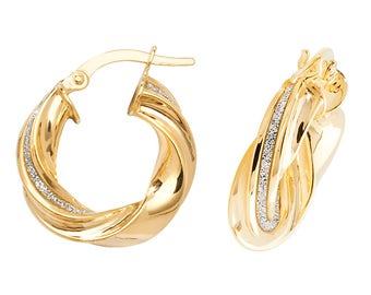 9ct Yellow Gold Stardust Stripe Twisted Hoop Earrings 10mm 15mm 20mm 25mm 30mm
