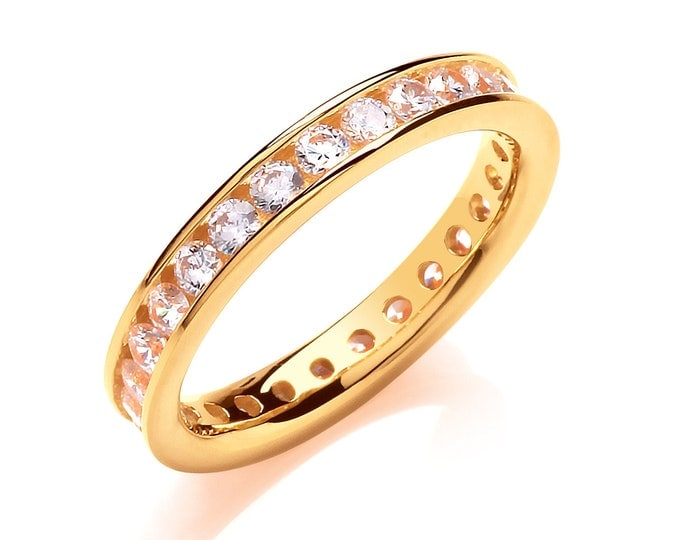 Yellow Gold on Sterling Silver 3mm Full Channel Set Cz Eternity Ring