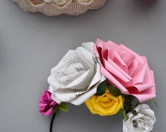 Flower Crown made from Paper Roses, Music Sheet, Fushia Pink, Yellow, Bridal Accessories, Partywear, Flower Girl,  Festival