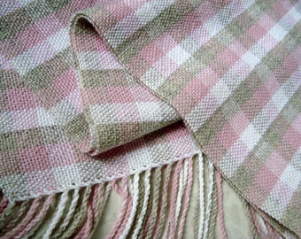 Handwoven women alpaca scarf Womens wool scarf Ladies pink white grey scarf Hand woven winter woolen scarf with fringes Woven alpaca scarf