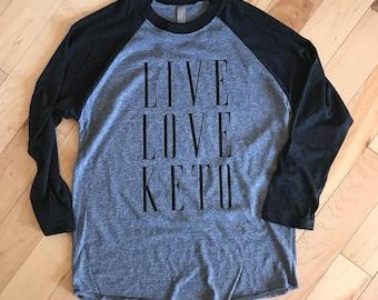 Live. Love. Keto. Women's Graphic Raglan Shirt