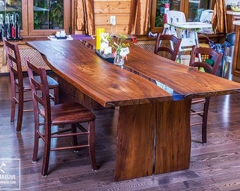 LIVE EDGE DINING Table Dining Wood Epoxy