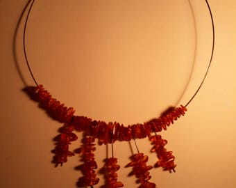Unique necklace with amber