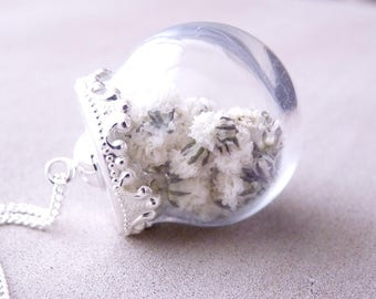 Long necklace glass globe filled with real small dried flowers gysophile, silver and white.