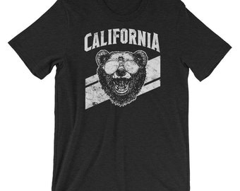 Grizzly bear t shirt etsy california state grizzly bear and sunglasses short sleeve adult unisex t shirt publicscrutiny Image collections