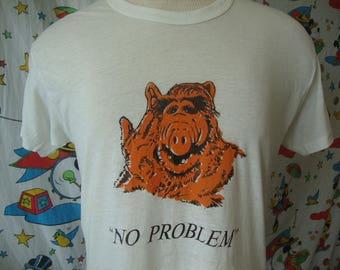Vintage 80's ALF Alien TV Show No Problem puppet Soft Paper Thin T Shirt Sz M