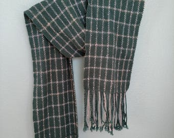 Green tencel handwoven windowpane scarf