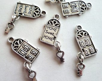 Set of 5 charms - door House with key - Metal - 18x8mm