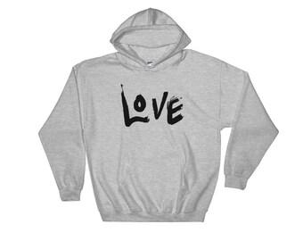 LOVE Brush Stroke Hooded Sweatshirt