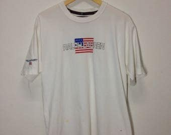 Vintage T shirt Polo Sport Ralph Lauren Spell out Medium Size White Colour