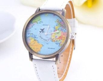 World Map Watch, Women Watches, Men's watch, Unisex Watch, Leather Watch, Vintage Style Watch,