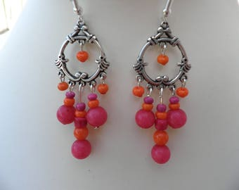 Antique Pink Orange Oriental earrings
