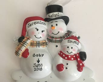 We're Expecting w/1 Child Personalized Christmas Ornament -