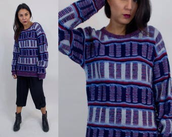 Chunky knit vintage sweater. Rectangle design