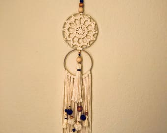 Handmade Double Circles Fringe Wall Hanging Design decorated with piece of crochet .. Art 9-17
