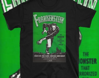 Frankenstein 1931 Movie Poster T Shirt Vintage Sci Fi Horror Zombie Colin Clive Mary Shelley Werewolf Vampire Black Spooky