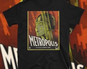 Metropolis Movie T Shirt 1927 Poster Art Sci Fi Dystopia Cyberpunk Steampunk Classic Fritz Lang Film Cinema Deco