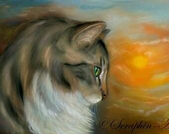 Brown Tabby Cat Sunset Original Pastel Painting