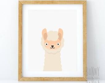 Alpaca Print, Minimalist Nursery Decor, Printable Alpaca Wall Art, Alpaca Illustration, Large Poster, Digital Download, Babies Room Decor