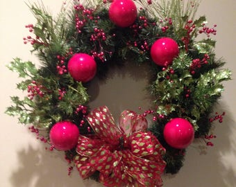 Holly and red ornament wreath