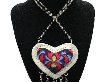 Colar de Prata Miao Coração/ Miao Silver Heart Necklace