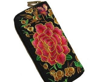 Wallet embroidered with pink flower/Peony Purse