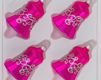 "Navidacio 4 pcs. Glass Bells Set in ""Highgloss Pink"" New"