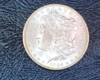 1904 O BU 1 MORGAN silver dollar from original roll lustrous flashy a4 #!10