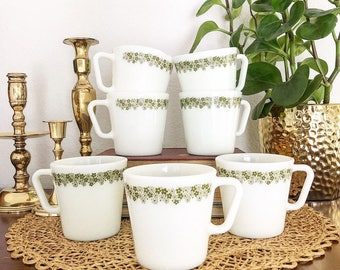 Set of 7 Vintage Crazy Daisy Spring Blossom Pyrex Coffee or Tea Mugs