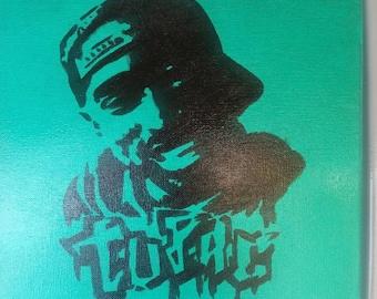 12x12 Tupac acrylic painting