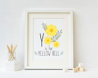 Y is for Yellow Bell - Woodland Alphabet Print