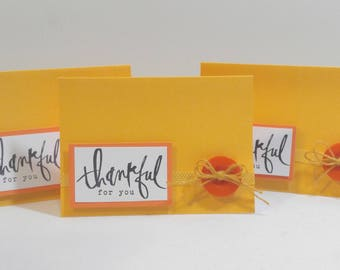 3 Handmade Thankful For You Greeting Card Set. Handmade Greeting Card. Thank You Card Set.