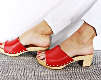 New LEATHER SANDALS high heel shoes platform wood red swedish clogs slippers leather clogs wood wooden clogs platform  sandals