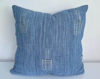 Rustic Handwoven Indigo Ikat Cotton Cushion Cover 45 x 45 cm