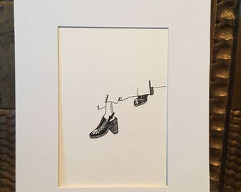 Stepping out- ink drawing