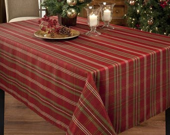 Metallic Fabric Tablecloth, Plaid, Check Tablecloth, Tartan Table Cloth,  Christmas Table Cover